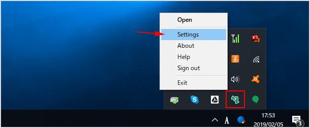 システムトレイから設定画面を開く