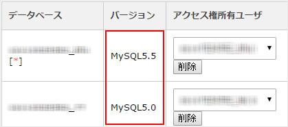 PHPやMySQLのバージョン