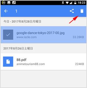 過去にダウンロードしたファイル表示