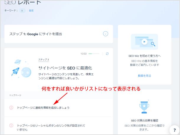 wixの SEO ツール