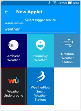 天気関連のサービスを指定する