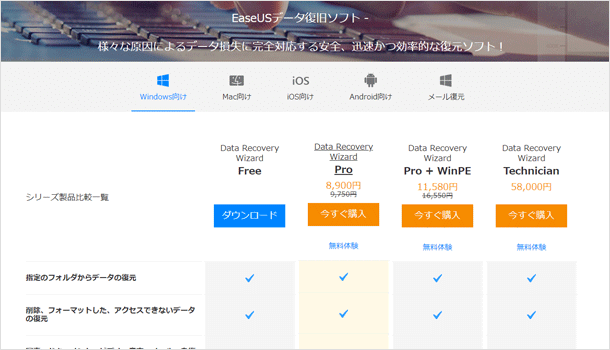 EaseUS Data Recovery Wizard をダウンロード
