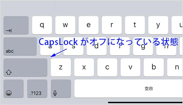 CapsLock がオフになっている状態