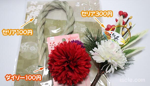 購入したしめ縄と飾り2種類