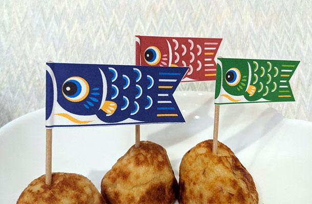 爪楊枝で鯉のぼりの旗